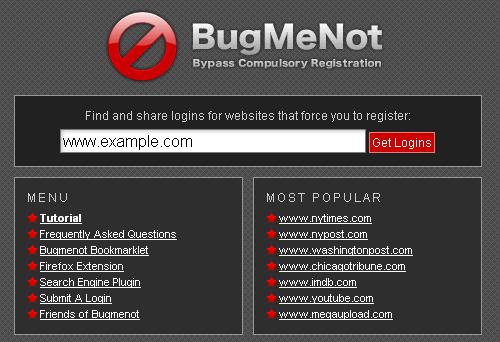 Скриншот сайта Bugmenot.com