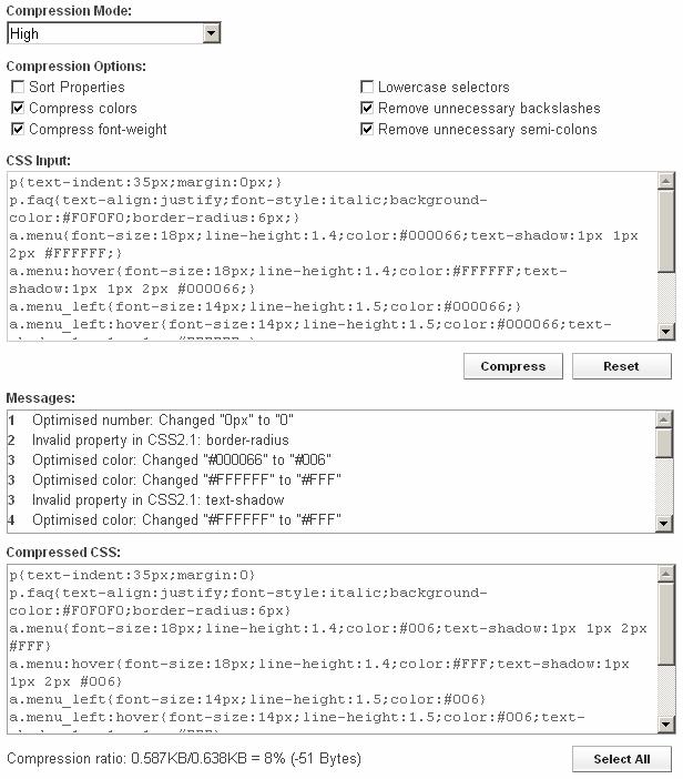 Онлайн сервис сжатия CSS кода